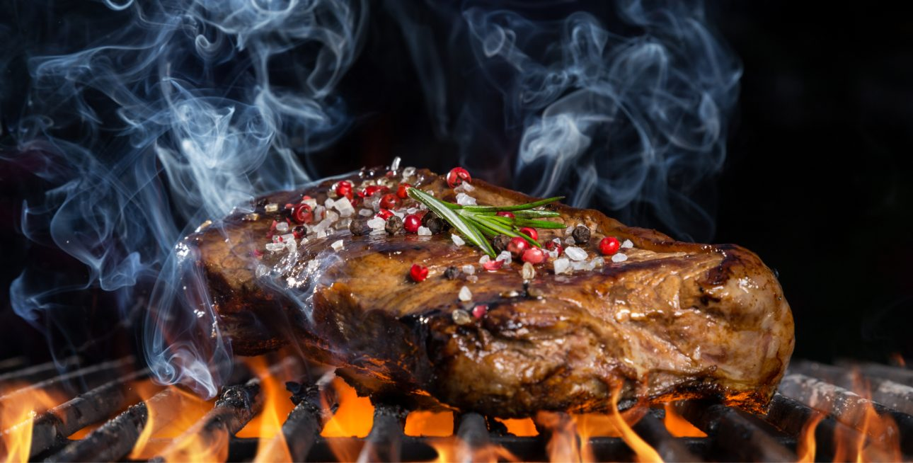 Steak mit Olivenbriketts